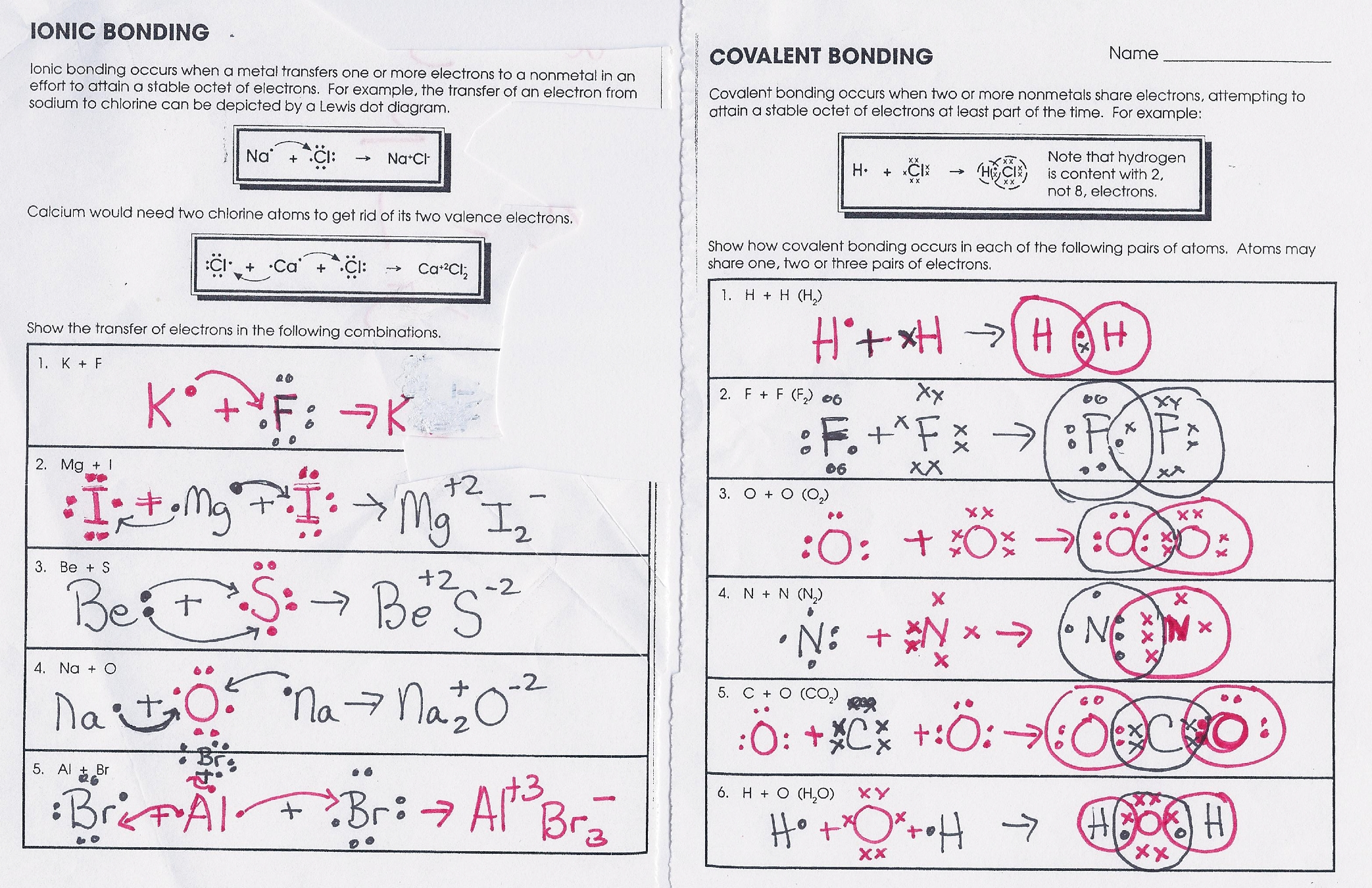 Ionic And Covalent Bonding Worksheet | Worksheet & Workbook Site